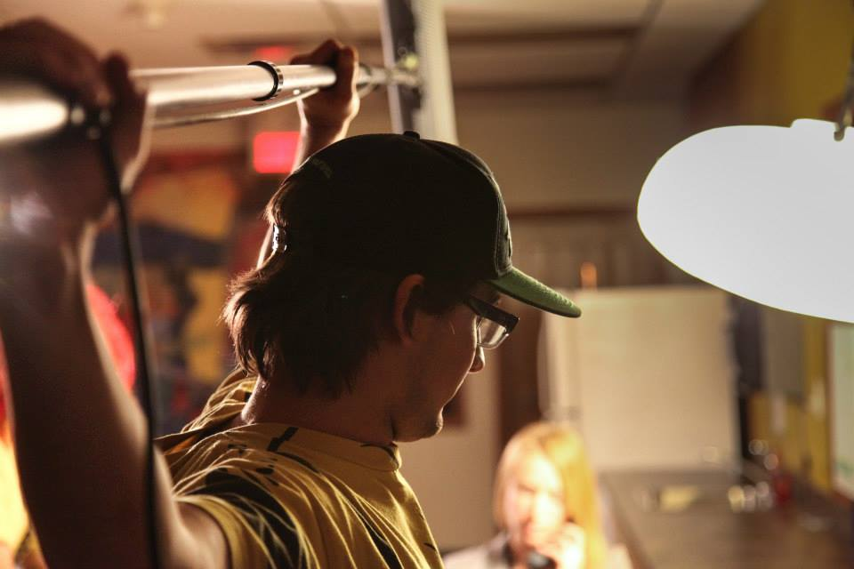 PRIMAA board member and Rock 977 DJ Cam Skip tests his arm strength as boom operator. Photo by Mike Bourree.